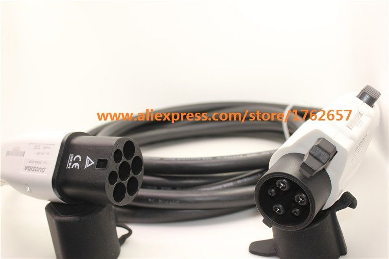 16A SAE J1772 to IEC 62196-2 type 1 to type 2 ev plug connector 5m black cord EV charger for electric vehicle charging station