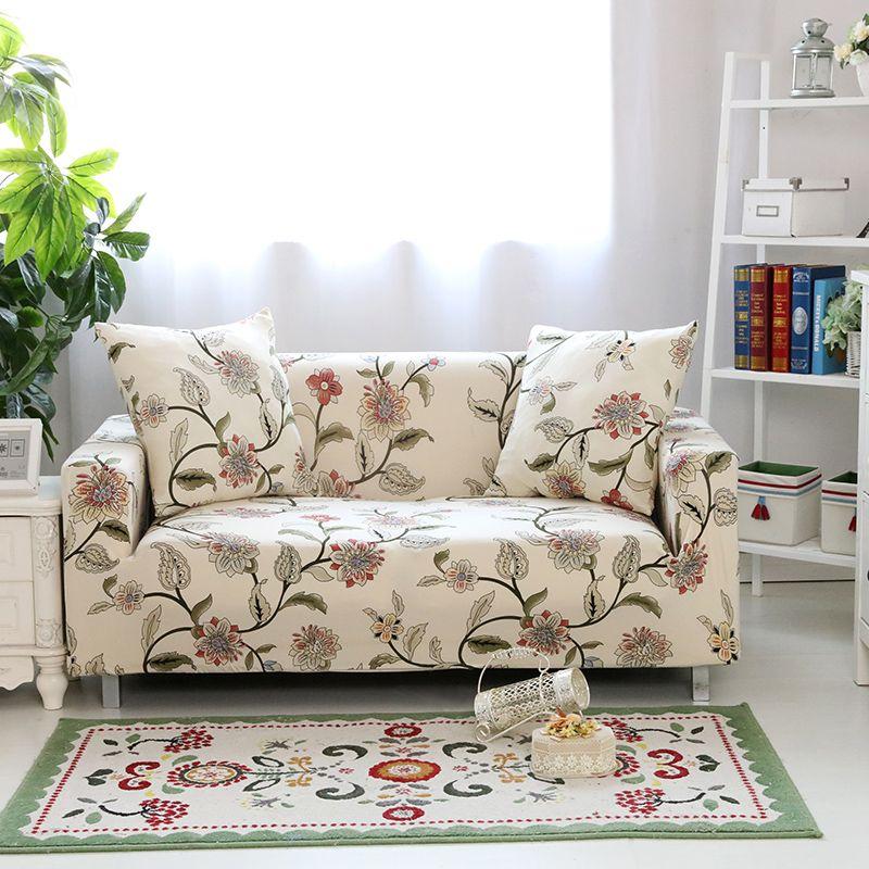 Impression florale Stretch élastique canapé couverture coton canapé serviette anti-dérapant canapé couvre pour salon entièrement enveloppé anti-poussière