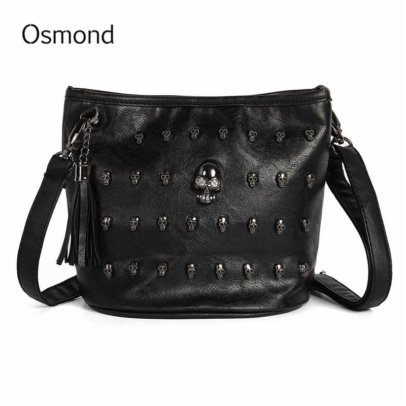 Osmond noir crâne sacs femmes Punk sac à bandoulière dames Rivet goujons sac à main Vintage en cuir Messenger Bolsas gland sac à bandoulière