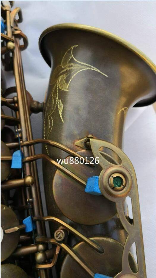 Neue Mark VI Eb Tune Alto Saxophon Messing Rohr Einzigartige Retro Antike Kupfer Oberfläche Sax Musical Instrument Mit Fall Freies verschiffen