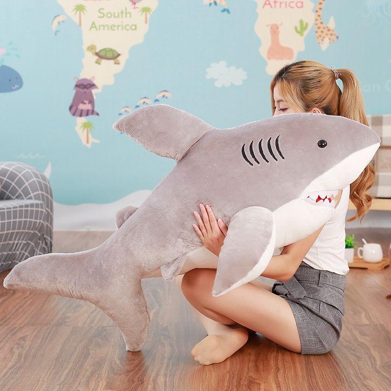 2017 70 cm 80 cm new super doux mignon horreur requin en peluche jouet requin oreiller poupée fille enfants cadeau d'anniversaire