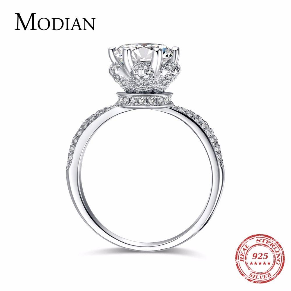 2018 Nouvelle Mode Classique Soild 925 En argent Sterling Anneau de mariage CZ Zircon Bijoux de partie de fiançailles marque Anneaux pour les femmes Cadeau