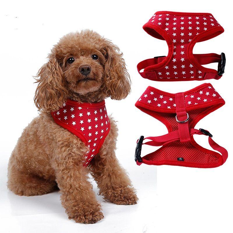 Hohe Qualität 4 farben Stern Entwirft Hundegeschirr Leinwand Hund Welpen Weste Typ Walking Werkzeug XS-XL