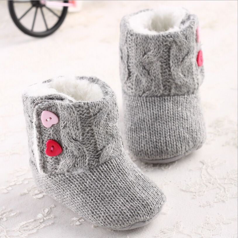 Infant Baby Girls  Cotton Knit Soft Winter Warm Snow Boots Heart Button Crib Shoes  0-18 Months