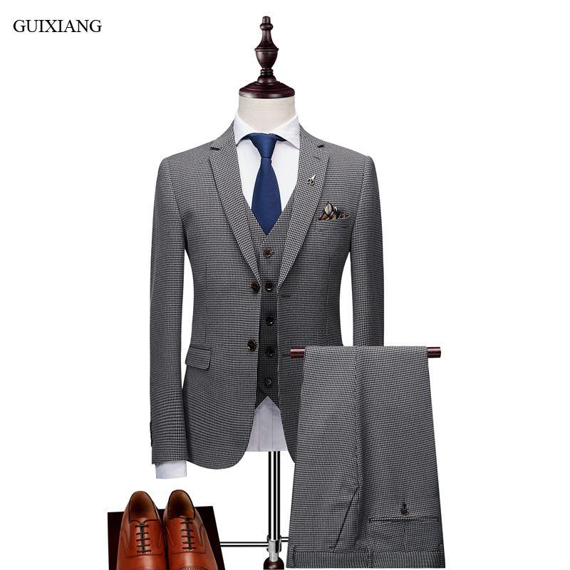 2018 New Arrival Style Men High-end Boutique Leisure Suits Business Casual Thousand bird Grid Three-piece Male Suit Coat M-3XL