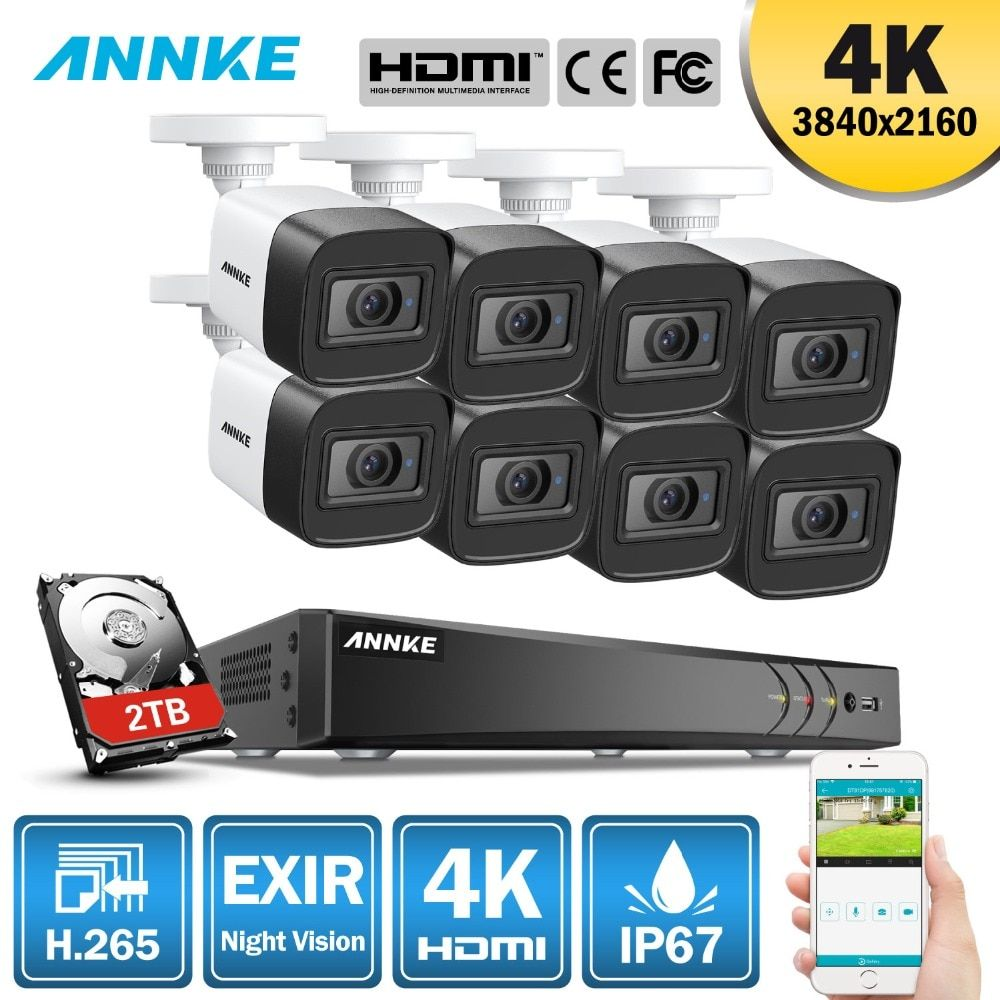 ANNKE 4 K Ultra HD 8CH CCTV Kamera Sicherheit System H.265 + DVR 8 PCS 8MP CCTV System IR Outdoor nacht Vision Video Überwachung Kit