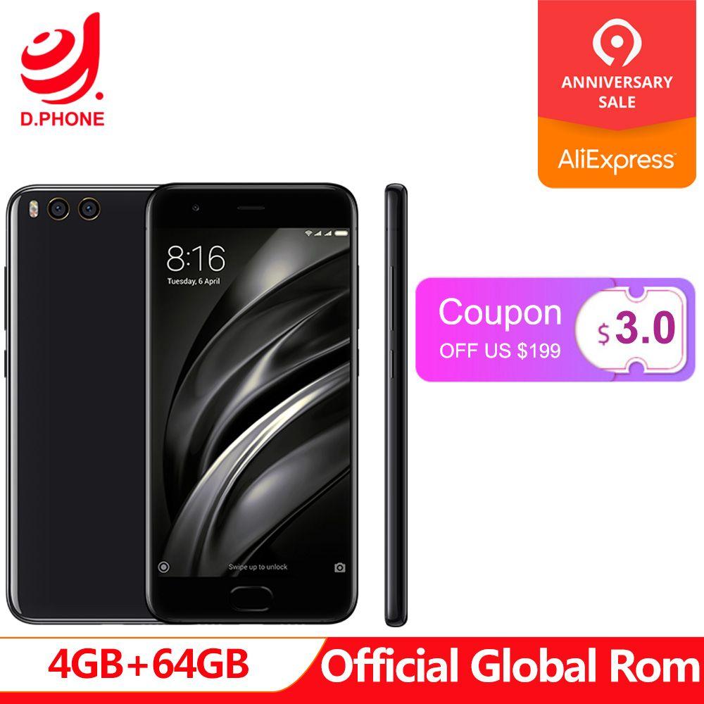 Globale Rom 5,15 Xiao mi mi 6 mi 6 4 GB RAM 64 GB ROM 1080 p Snapdragon 835 4G TD LTE smartphone dual kamera 12.0MP OTA 3350 mAh
