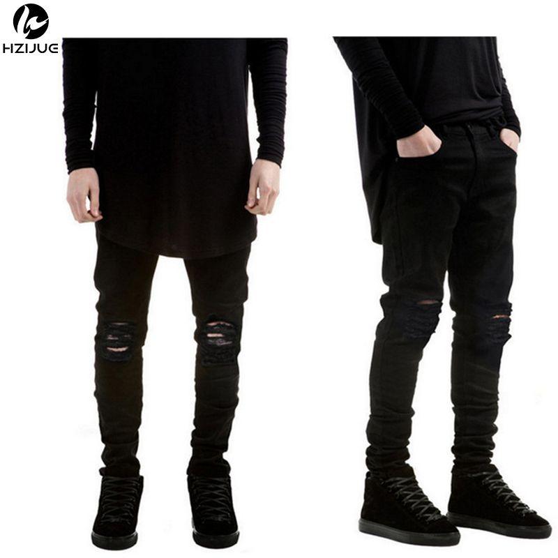 HZIJUE 2018 nouveau noir déchiré Jeans hommes avec des trous Super Skinny célèbre Designer marque Slim Fit détruit déchiré Jean pantalon pour homme