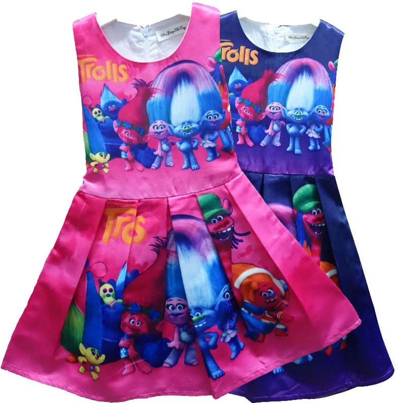 2017 Summer Girls Troll Dress Children Costume Sleeveless Gown Dress Girls Princess Wedding Party Dress Kids Clothing 3-10 Years