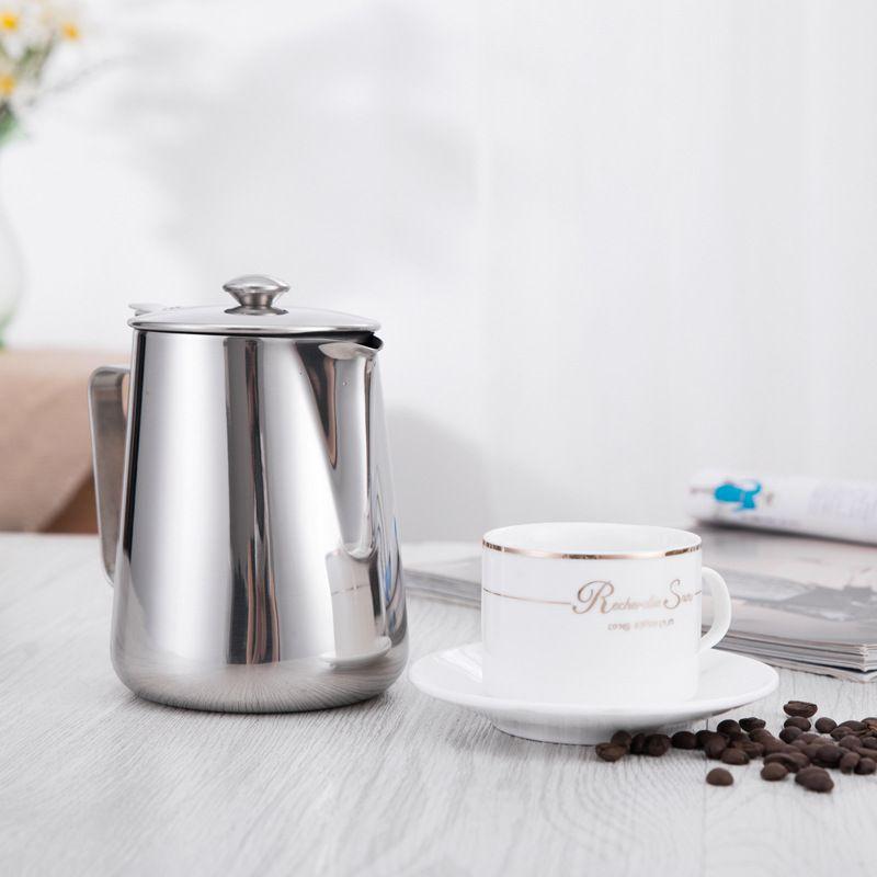 Pichet à café en acier inoxydable pichet à mousse de lait avec couvercle pot à lait Cappuccino pichet à café expresso tasses Barista 300 ml 600 ml