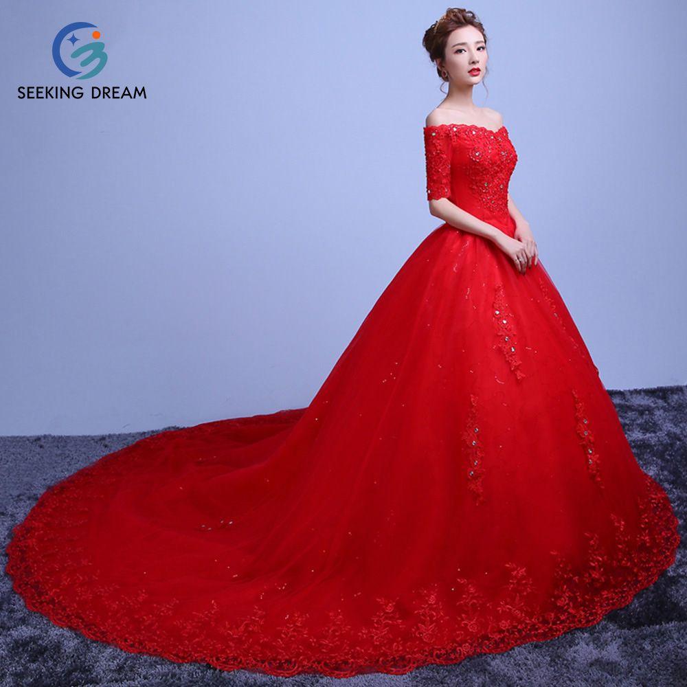 Caliente Sin Tirantes Del Hombro de Bola del Vestido de Boda de La Manga Medio vestido de Encaje Hasta la Capilla de Tren de Novia de la Princesa Más Tamaño DLY20 Rojo