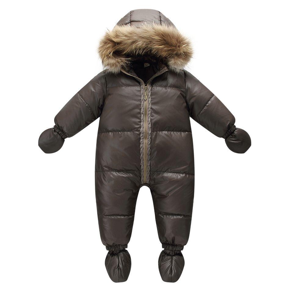 Chaqueta de la marca de moda de invierno de calidad superior brown 9 M-36 M bebé abrigo 90% plumón de pato nieve desgaste del bebé traje para la nieve con la naturaleza de la piel campana