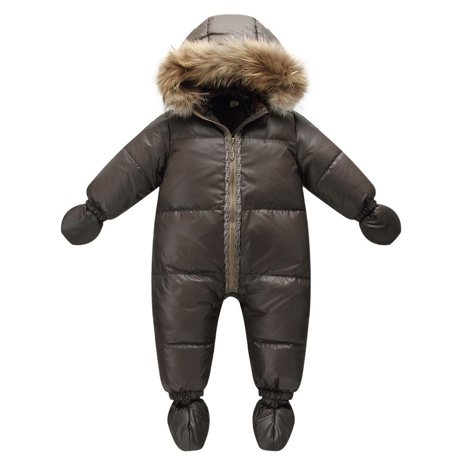 Top quality winter brand jacket fashion brown 9M -36M infant coat 90% duck down snow wear baby boy snowsuit with nature fur hood