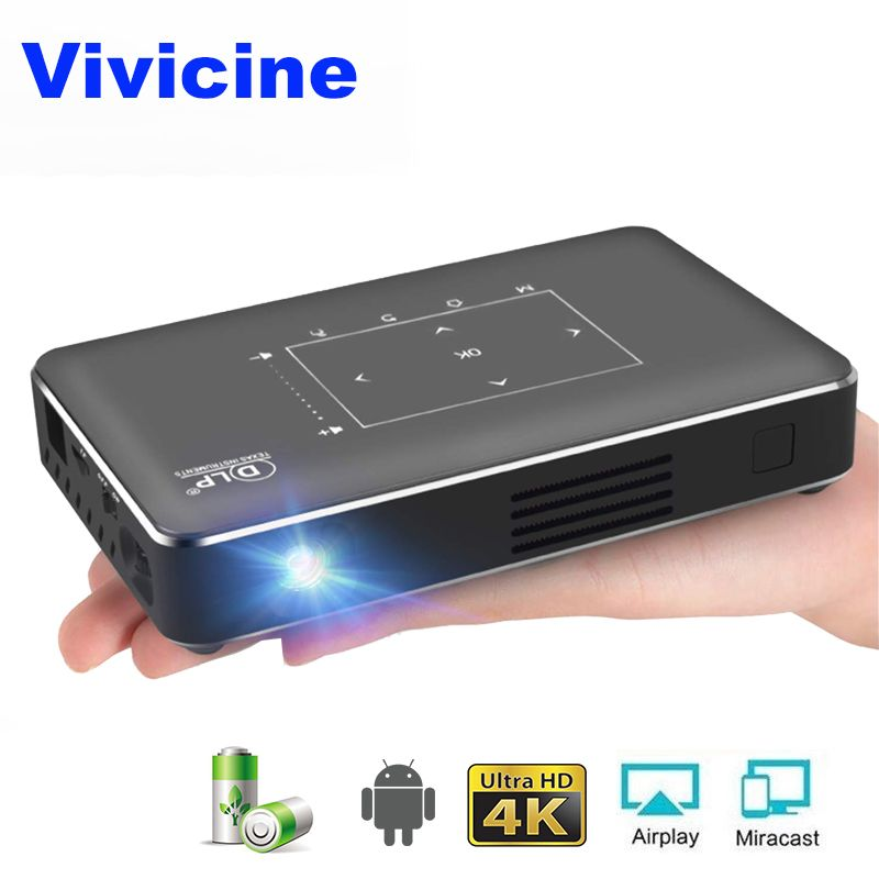 Vivicine P10 4K Mini Projektor, Android 6.0 Bluetooth, 4100mAh batterie, HDMI USB PC Spiel Mobile Pocket Projektor Proyector Beamer