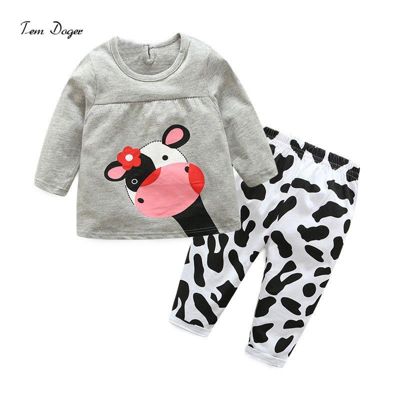 Tem Doger Baby Girls Cotton Clothing Sets Infants Cartoon Cow T shirt + Pants 2-piece suits Newborn Cute Outfits