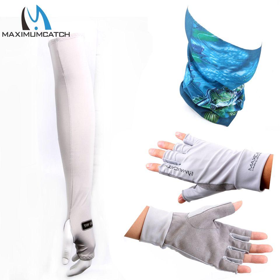 Maximumcatch UV Protection Half-Finger Gloves & Multi Function Fishing Scarf & Breathble Sports Arm Sleeve