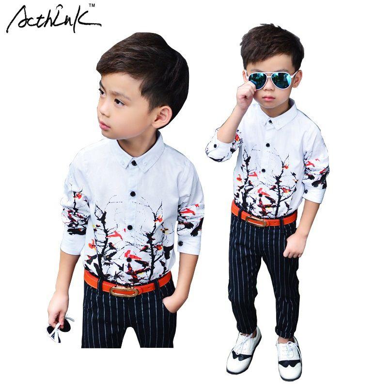 ActhInK nouveau 2018 enfants branche motif Floral robe chemises pour garçons marque Top qualité enfants printemps chemises de mariage formelles, C153