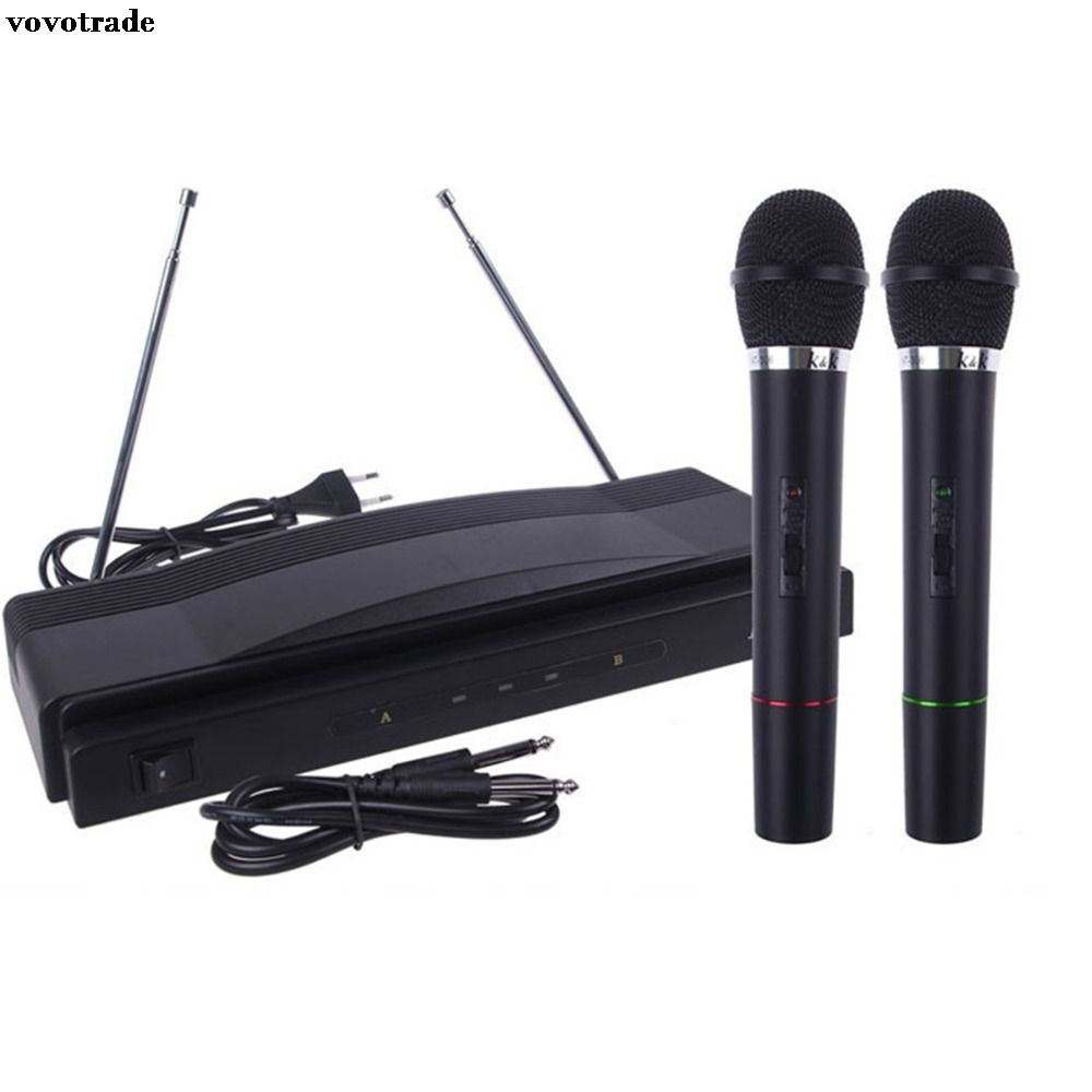 vovotrade Wireless Microphone System Dual Handheld + 2 x Mic Cordless Receiver Singing Microphone Home USE Karaoke Music