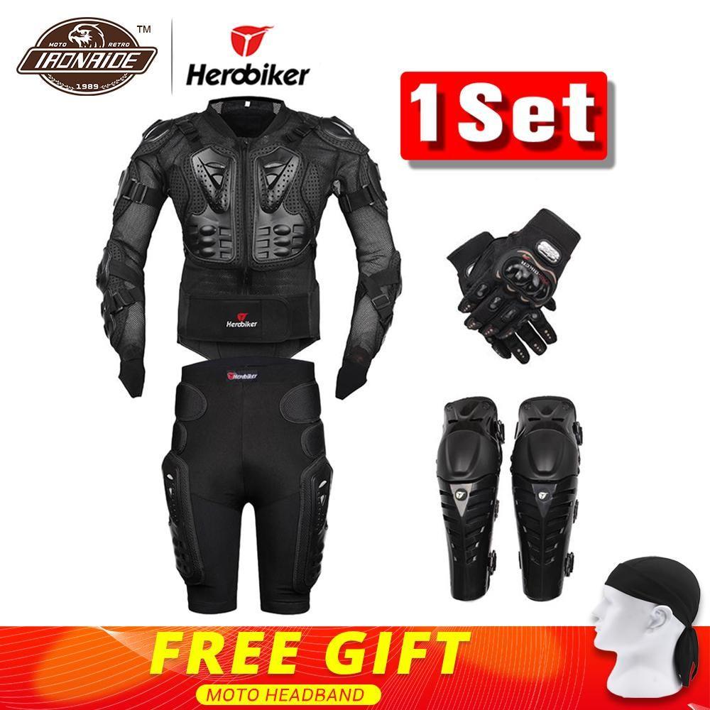 New Moto Motocross Racing Motorcycle Body Armor <font><b>Protective</b></font> Gear Motorcycle Jacket+Shorts Pants+<font><b>Protection</b></font> Knee Pads+Gloves Guard