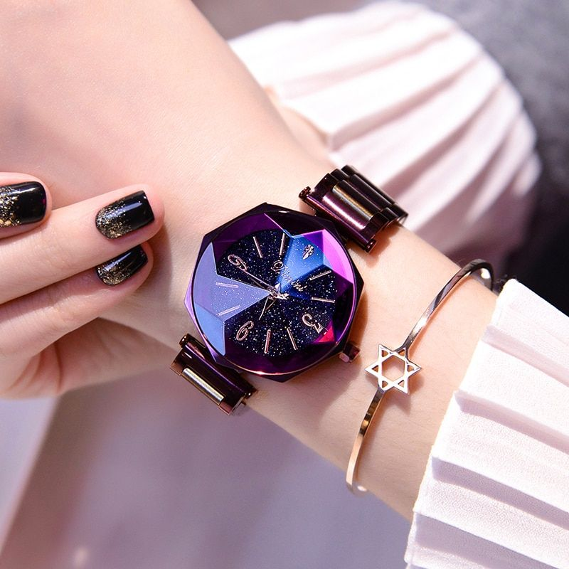 2018 Luxury Brand Lady Crystal Wrist Watch Women Starry sky Fashion Rose Gold Quartz Watches Female Stainless Steel Wristwatches