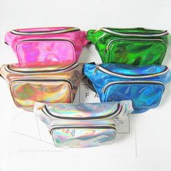 PU laser waist bag Thighbags fanny pack for women holographic leg bag leather for women's Belt buckle heuptas a case for phone
