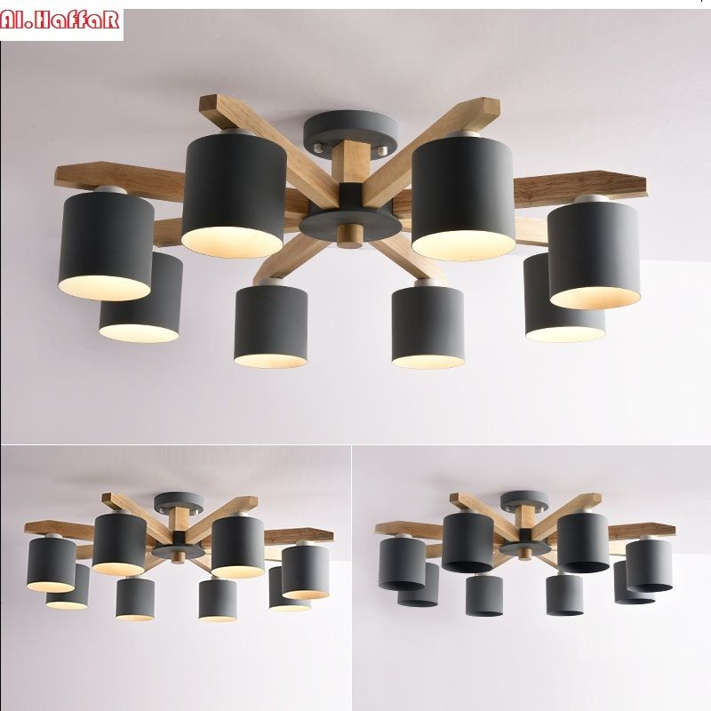 Modern Nordic solid wood LED ceiling Chandelier E27 With Iron Lampshade creative Lighting Fixtures Lamparas Colgantes Wooden