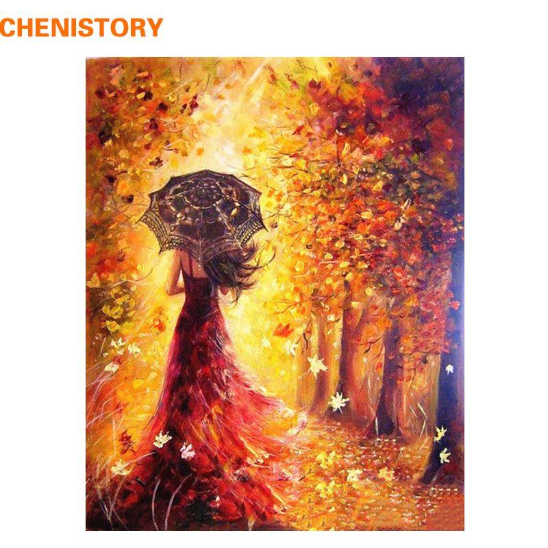 CHENISTORY belles femmes automne paysage peinture à la main par numéros Kits de coloration peinture par numéros moderne mur Art photo cadeau