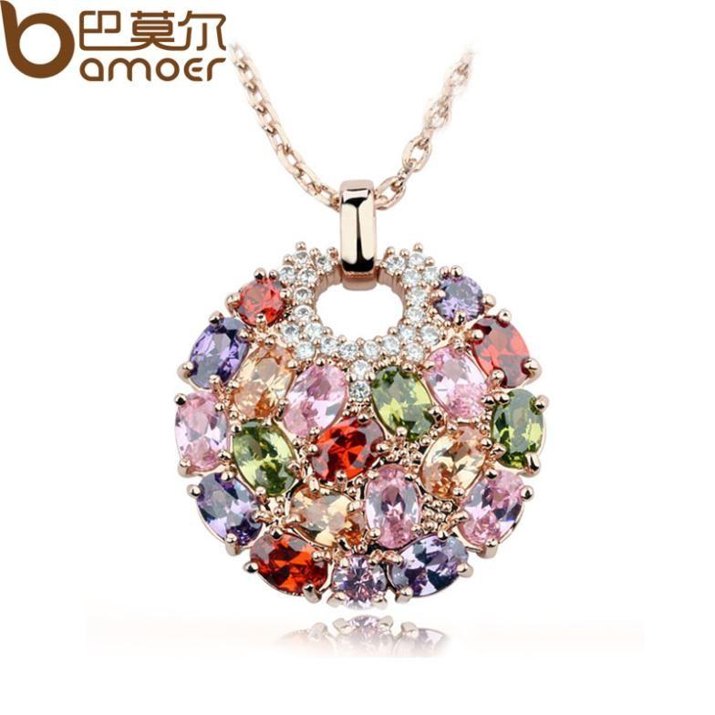 Multicolor Crystal Round Necklaces & Pendants for Women Gold Color Swiss CZ Zircon Women Clothing Accessories JIN004