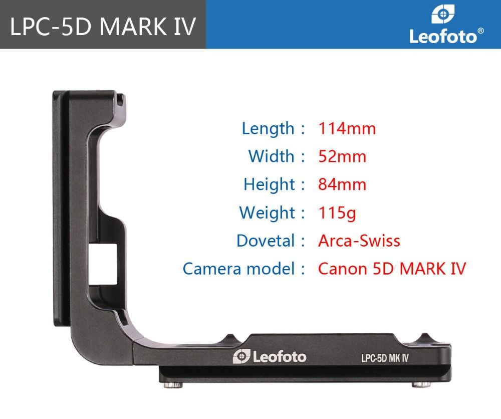 PCL-5DIV Custom L Plate Bracket for Canon 5DIV 5D4 5D Mark IV Camera Arca, Really Right Stuff, Benro compatible