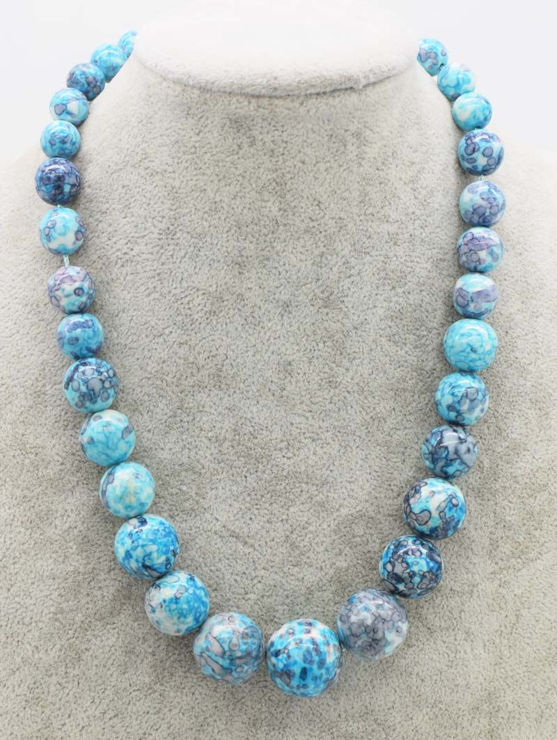 blue jade 10-20mm necklace 18inch wholesale beads nature FPPJ woman 2018