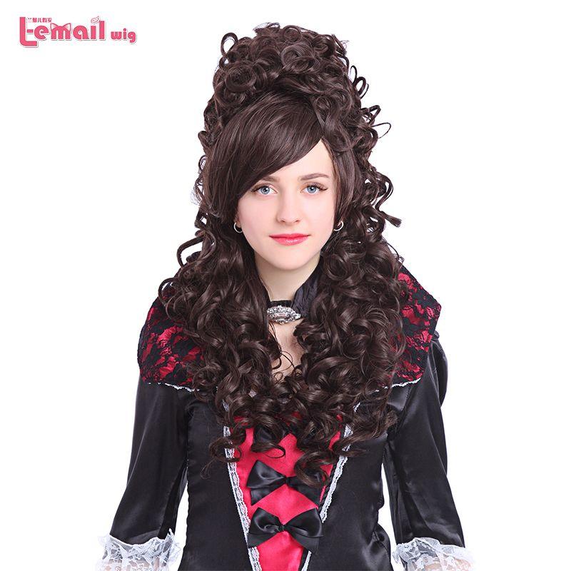 L-email perruque 32 pouces 80 cm Long Cosplay perruques 6 couleurs bouclés noir Beige rose cheveux synthétiques Perucas Cosplay perruque