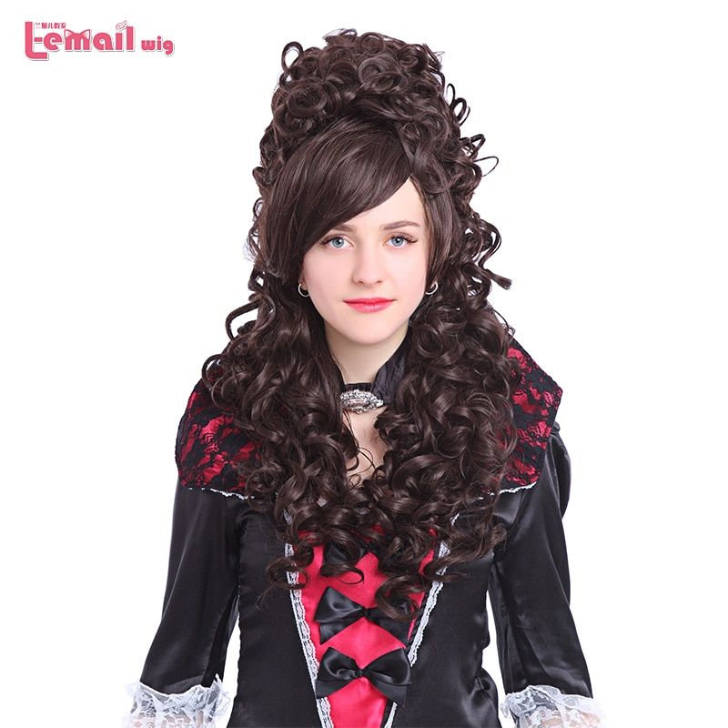 L-email wig 32inch 80cm Long Cosplay Wigs 6 Colors Curly Black Beige Pink Synthetic Hair Perucas Cosplay Wig