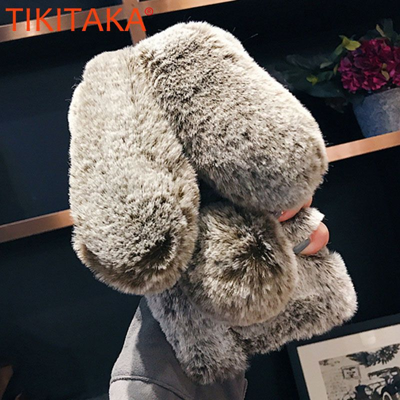 Fluffy Rabbit Fur Silicone Phone Cases For iPhone X 8 7 6S Plus Samsung Galaxy S9 S8 Plus S7 S6 edge Case Bling Back Cover Shell