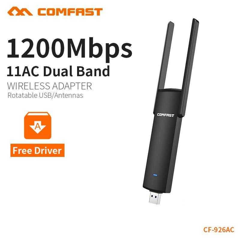 COMFAST usb wifi adaptateur 1200 mbps double bande wi-fi dongle ordinateur AC carte réseau USB 3.0 antenne 802.11ac/b/g/n 2.4 Ghz + 5.8 Ghz