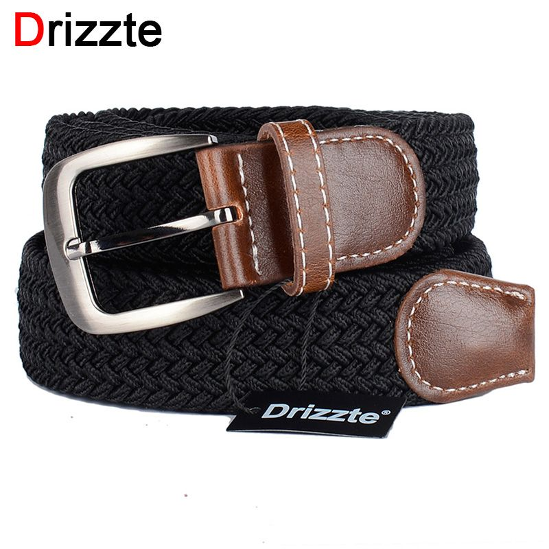 Drizzte Plus Size 130cm 150 160 170 180cm Long Black Braid Elastic Stretched Belt Mens Metal Buckle for Big and <font><b>Tall</b></font> Man