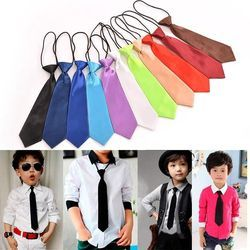 2018 Boy Tie Kids Baby School Boy Wedding Necktie Neck Tie Elastic Solid Colour Stain Wholesale