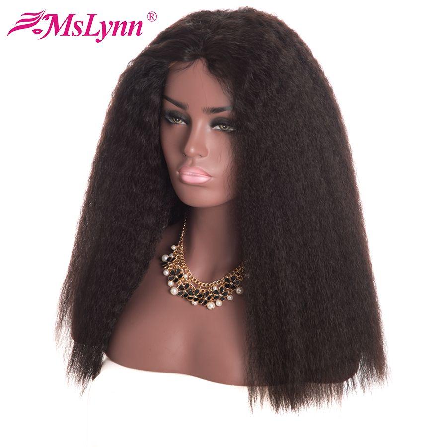 Mslynn 13x4 avant de lacet perruques de cheveux humains pour les femmes brésiliennes crépus cheveux raides perruque de dentelle avec des cheveux de bébé Remy cheveux naturel noir