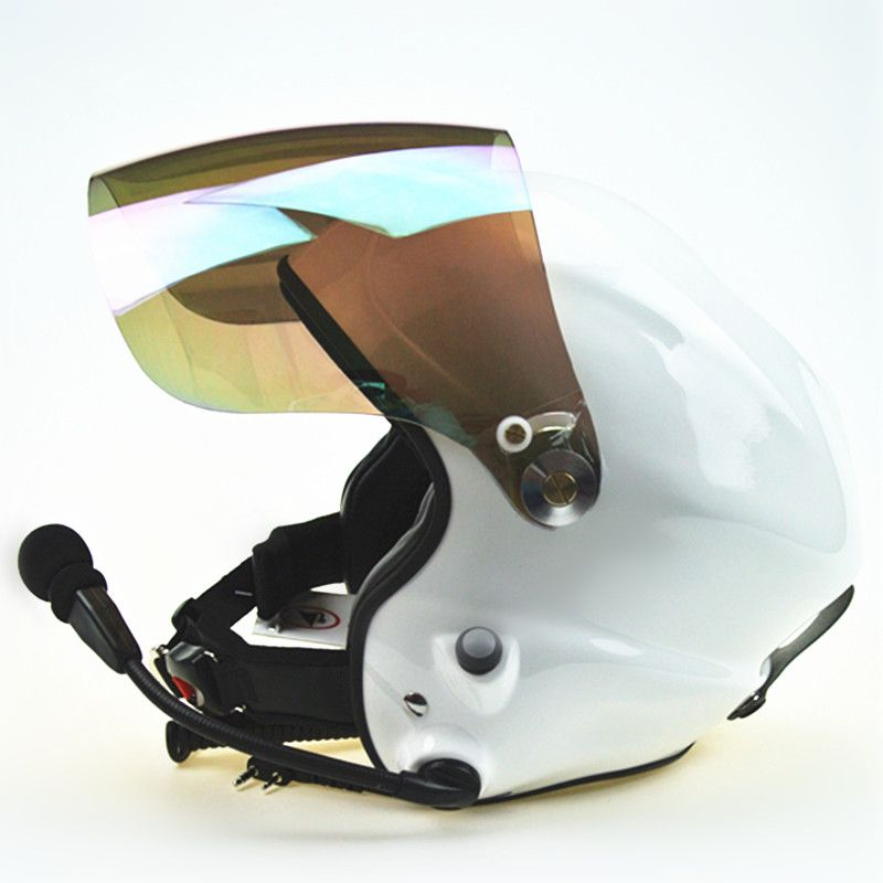 Noise cancel Paramotor helmets with full headset White powered paraglider helmet wholesale free shipping