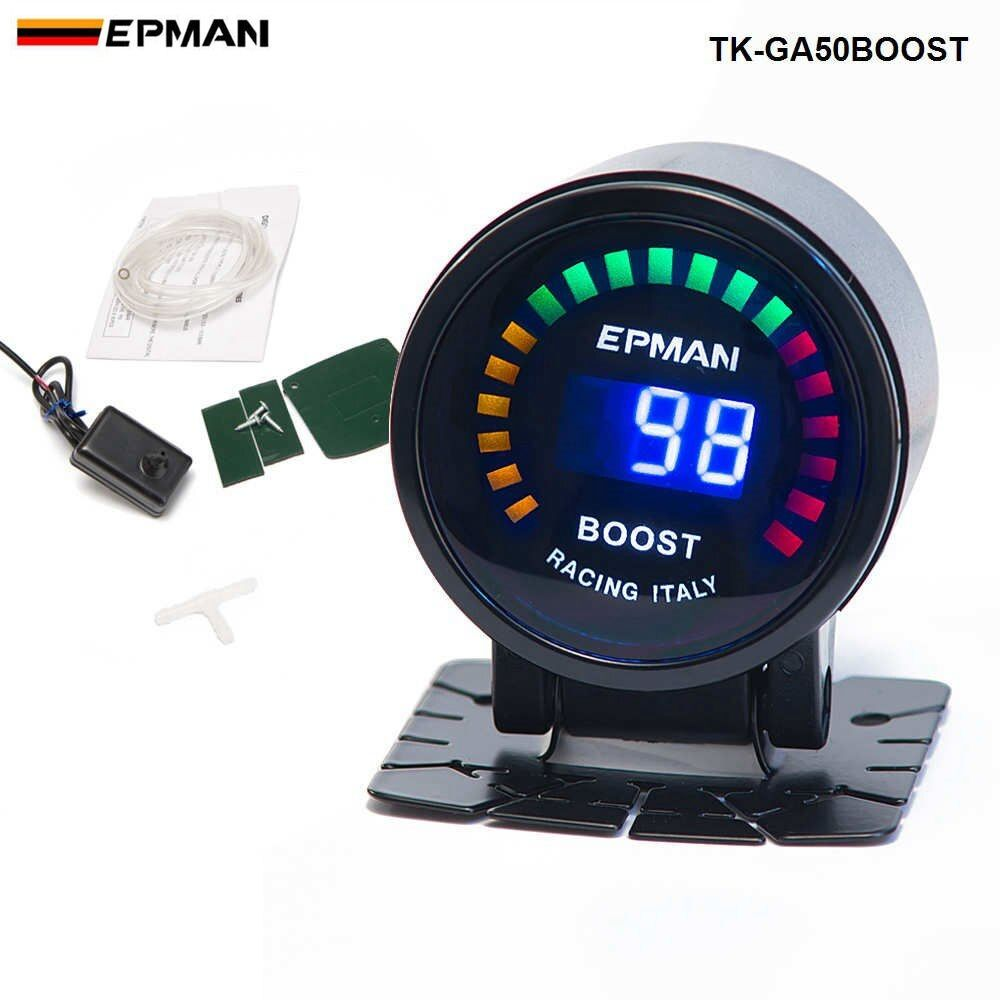 2015 New EPMAN racing 52mm Smoked LED PSI/BAR Turbo Boost Meter Gauge with Sensor For FORD MUSTANG 86-93 TK-GA50BOOST