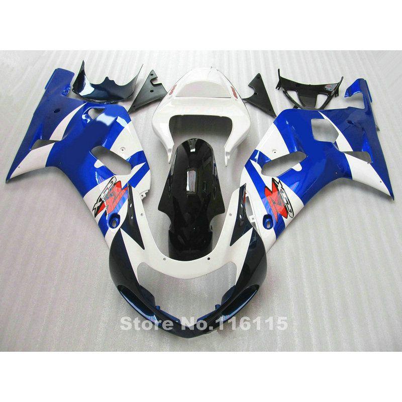 Motorrad verkleidung kit fit für SUZUKI GSXR600 GSXR750 K1 2001 2002 2003 blau weiß schwarz verkleidungen GSXR 600 750 01 02 03 A412