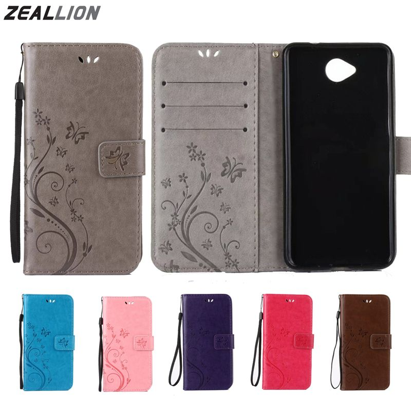 ZEALLION For Nokia Lumia 530 535 550 630 640 650 Nokia 3 5 6 9 Case Flower Butterfly Magnetic Holster Flip Leather Cover