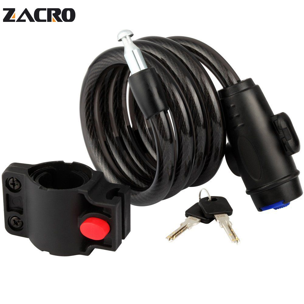 Zacro Bicycle Lock Black Road Bike Lock Anti-theft Coiling Cable Lock Security Lock Steel For Mountain MTB Bike Motorcycle 1.2m