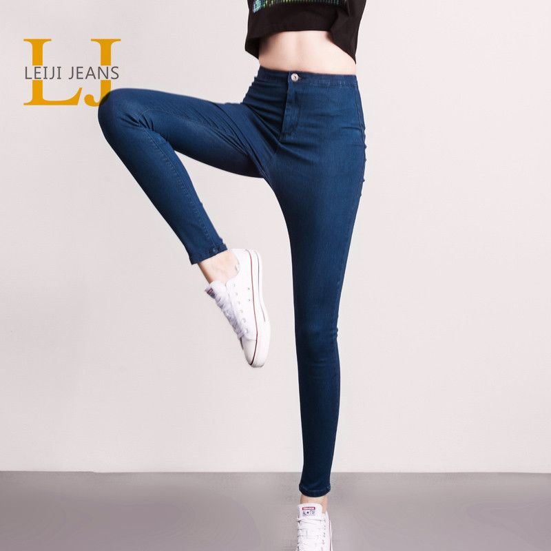 LEIJIJJEANS 2018 Hot Summer Fashion Plus Size Solid 4 <font><b>Colors</b></font> High Waist Full Length Women Casual Stretch Skinny Pencil Jeans