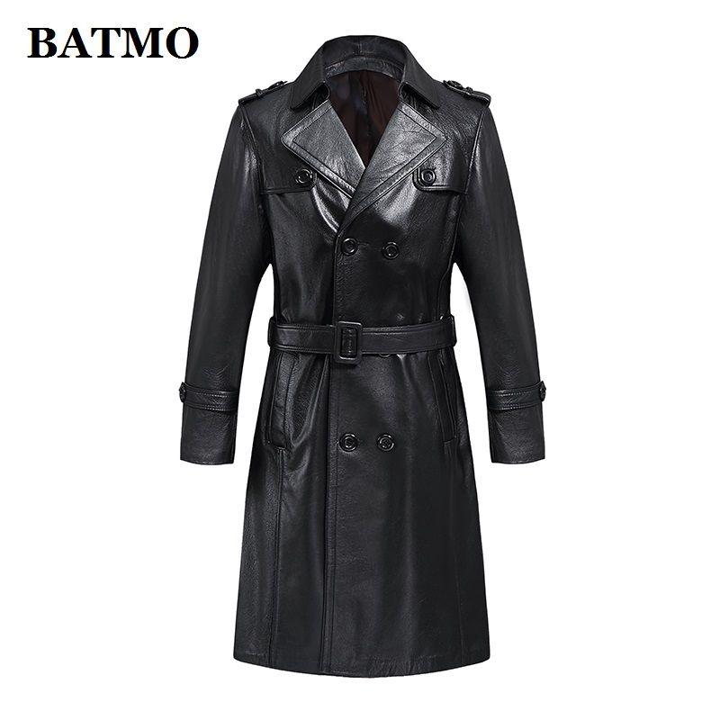 BATMO 2019 neue ankunft 100% natürliche kuh leder lange jacken männer, männer Zweireiher leder graben mantel, nach maß N008
