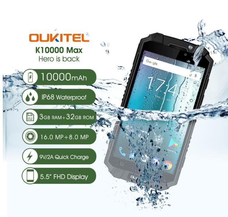 OUKITEL K10000 Max 3GB 32GB IP68 Waterproof Mobile Phone 10000mAh 5.5