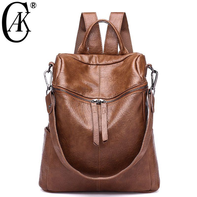 Cak Brand Vintage Women Backpack Soft Leather School Backpacks For Teenage Girls Casual Large Capacity Shoulder Travel Bags 236