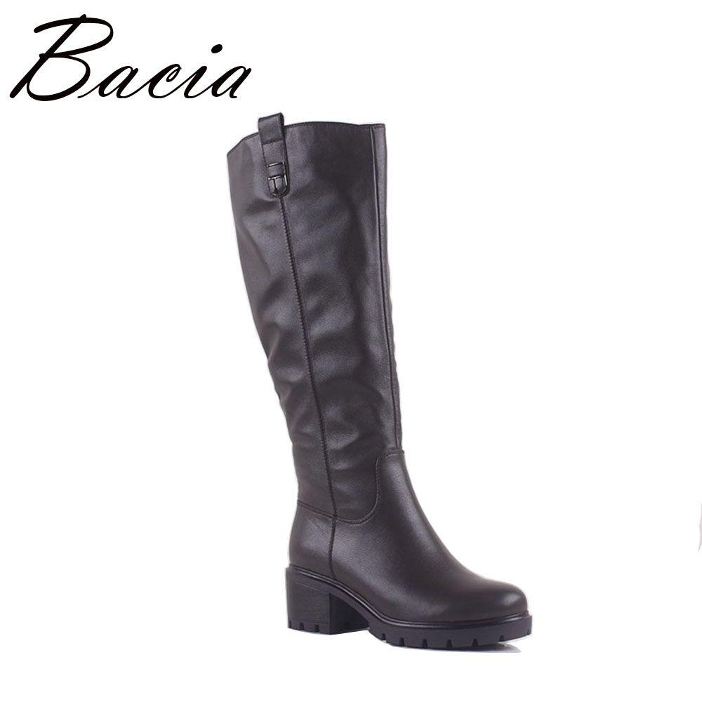 Bacia 2017 GRAU Leder stiefel Runde kappe starke ferse Knie stiefel damen Lange Stiefel frauen leder stiefel Handgemachte Größe 36-40 MA010