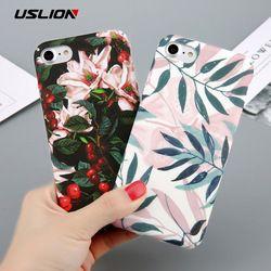 USLION Cas Pour iPhone 6 Fleur Cerise Arbre Dur PC Cas de Téléphone bonbons Couleurs Feuilles Imprimer Cover Coque Pour iPhone 6 6 s 7 8 Plus