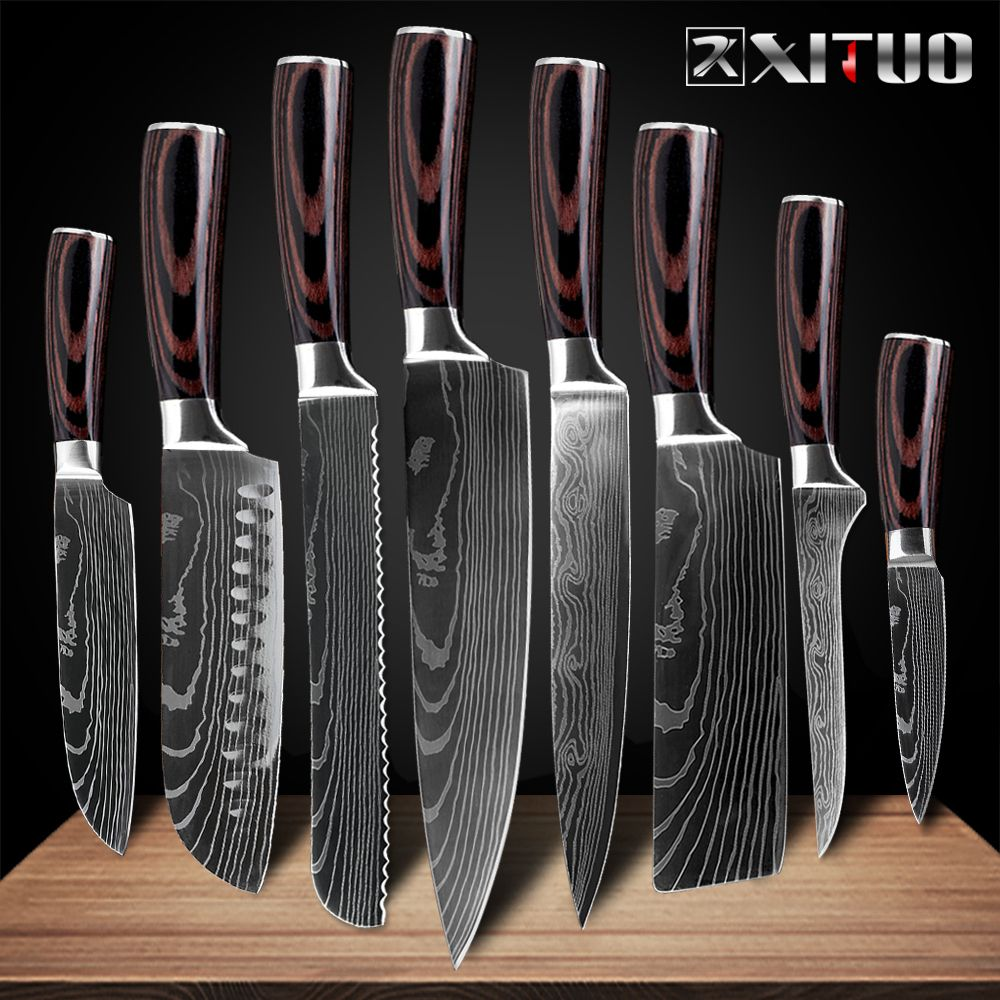 XITUO 8 pouces couteaux de cuisine japonais Laser damas motif chef couteau tranchant Santoku couperet tranchage couteau utilitaire outil EDC