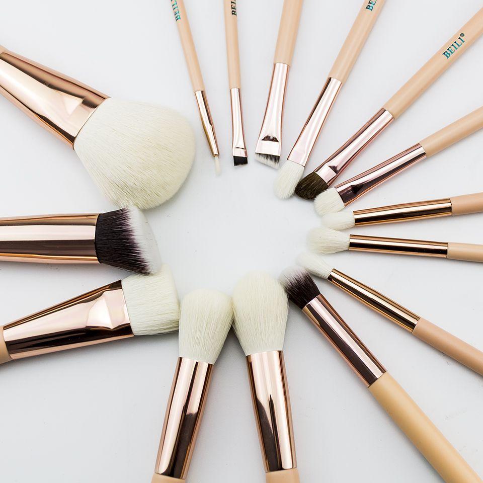 BEILI 15 pièces Rose Or Rose pinceaux De Maquillage Naturel chèvre Poney Cheveux Fondation blush Mélange d'oeil de Poudre Contour set Professionnel